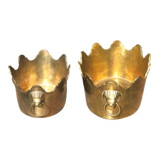 Vintage Brass Scalloped Planter Bowl With Lions Head - a Pair For Sale