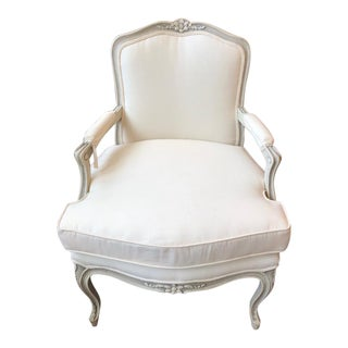 1960s Vintage Ivory Upholstered French Style Arm Chair For Sale