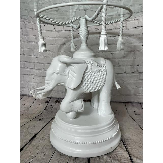 Chinoiserie Vintage Glass White Elephant Side Table For Sale - Image 3 of 6