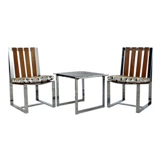 Mid Century Modern Milo Baughman Chrome Flatbar Chairs Slate Table Set 70s - Set of 3 For Sale