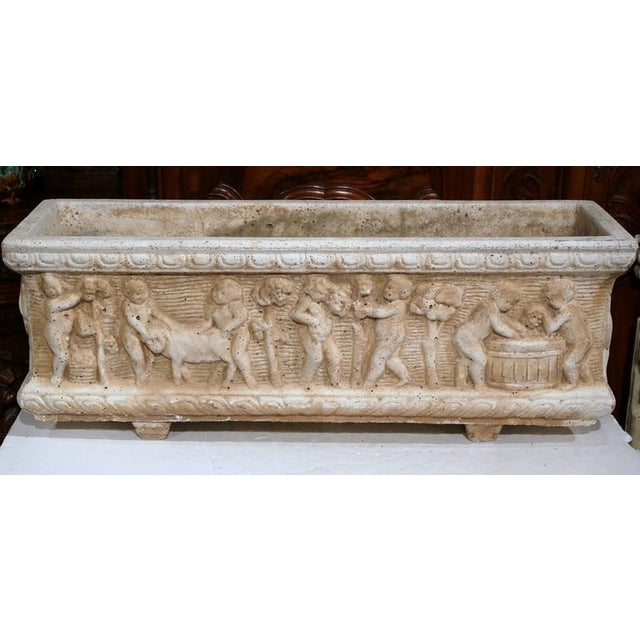 19th Century French Carved Stone Jardiniere With Children Figural Motifs For Sale In Dallas - Image 6 of 9