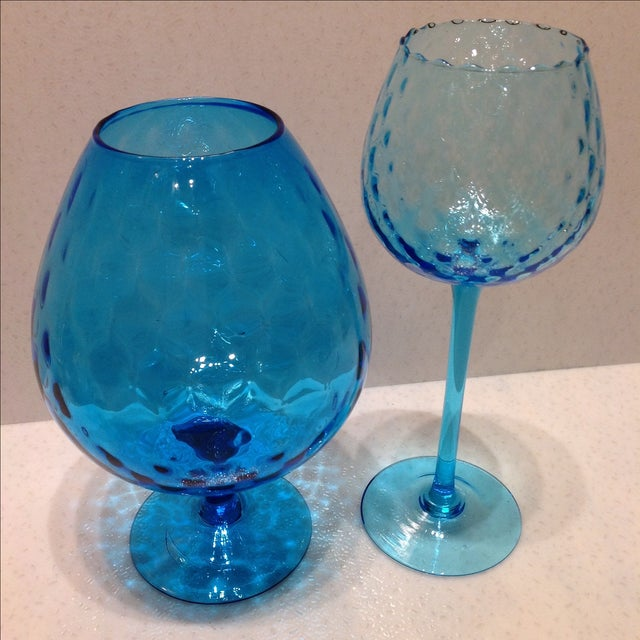 Blue Optic Glass Murano Vases - A Pair - Image 3 of 11