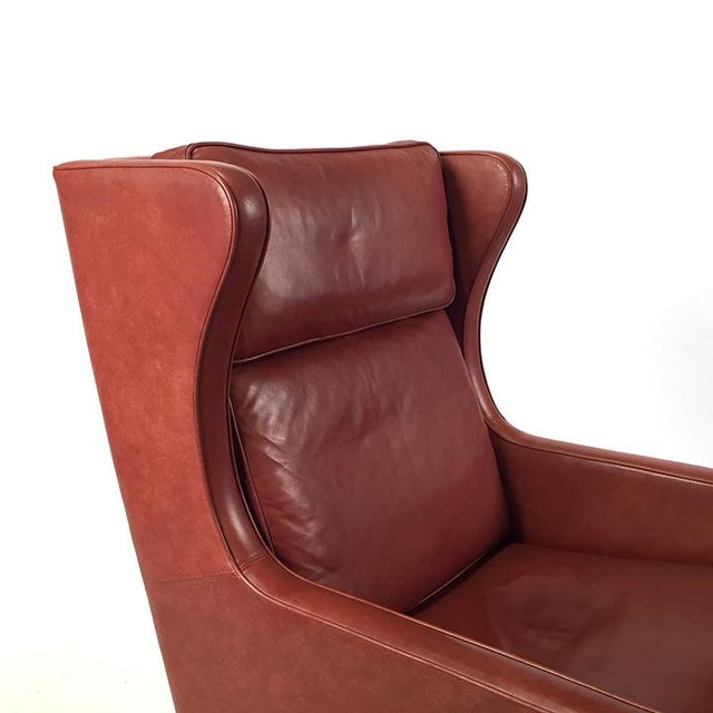 Danish Modern 1960s Danish Modern Mogensen Highback Brick Red Leather Lounger For Sale - Image 3 of 7