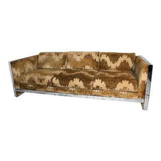 Mid Century Selig Monroe Milo Baughman Style Chrome Sofa For Sale