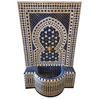 Modern Blue & White Moroccan Mosaic Tile Rafraf Fountain For Sale