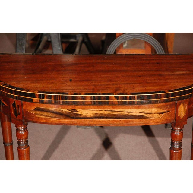 1830s English Demilune Mahogany Game Table or Console For Sale In Los Angeles - Image 6 of 13