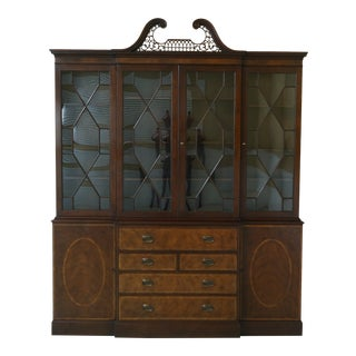 Baker Vintage 1940s English Style Mahogany Breakfront For Sale