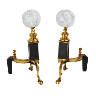 St. Clair Crystal Andirons For Sale