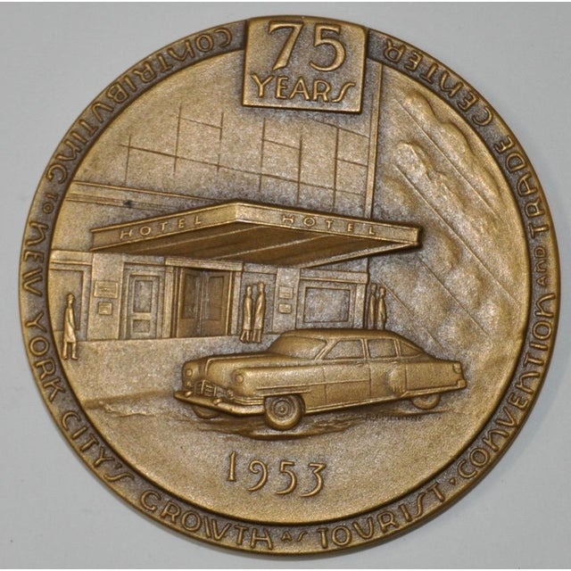 Hotel Association of New York City 75th Anniversary Commemorative Bronze Medallion c.1953 For Sale - Image 4 of 4