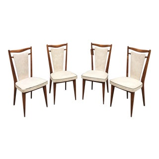 1960s Mid Century Modern White Leather Dining Chairs - Set of 4