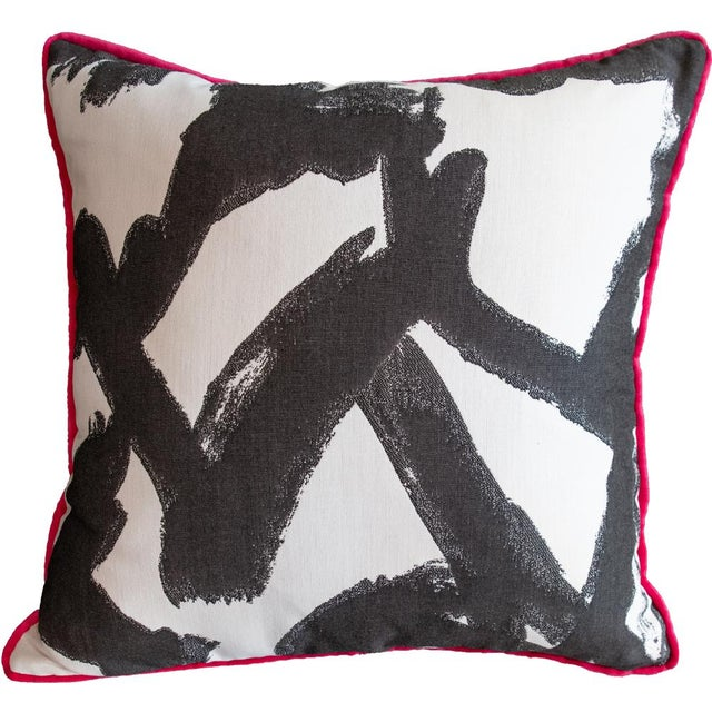 2020s Pink Velvet and Geometric Print Pillow For Sale - Image 5 of 5