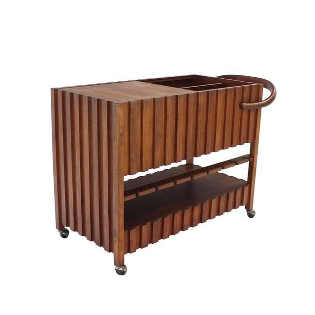 Wood Mid-Century Modern Solid Oiled Walnut Bar Serving Cart For Sale - Image 7 of 8