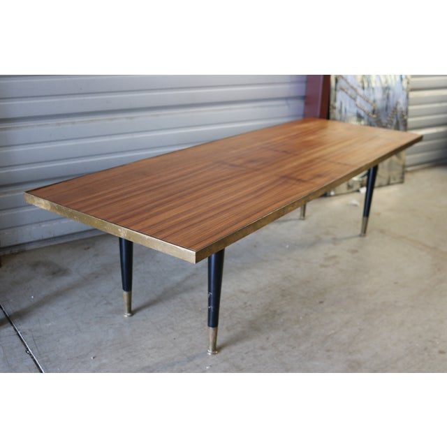 Mid Century Wood and Brass Cocktail Coffee Table - Image 2 of 6