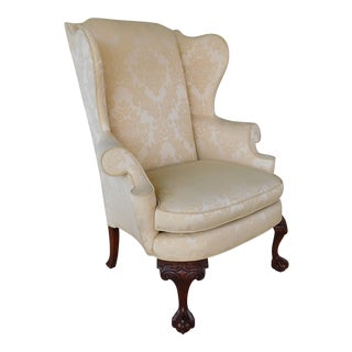Hickory Chair Co. Colonial Wiliamsburg Style Ball & Claw Foot Wing Back Chair
