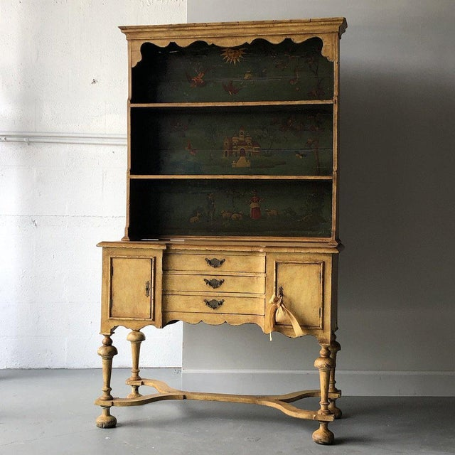Wood 19th C. Continental Motif Painted Cupboard For Sale - Image 7 of 7