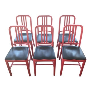 Emeco 111 Navy Chairs Red - Set of 6 For Sale