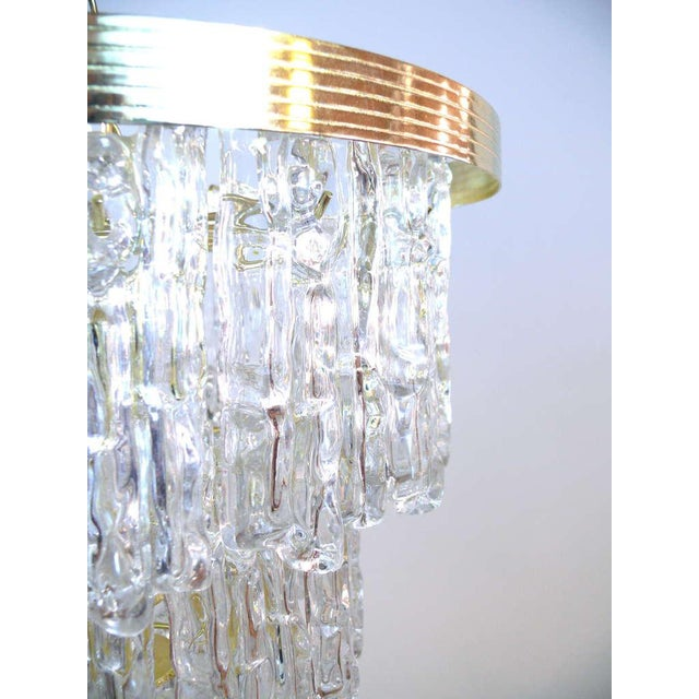 Gold Tiered Lucite Icicle Chandelier For Sale - Image 8 of 10