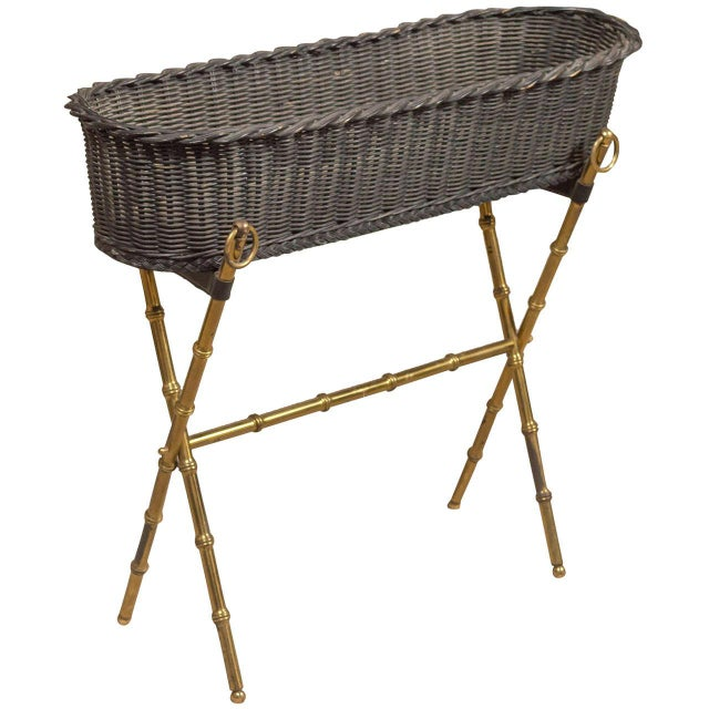 Bamboo Jacques Adnet Wicker Planter With Gilt Brass Bamboo Base For Sale - Image 7 of 7