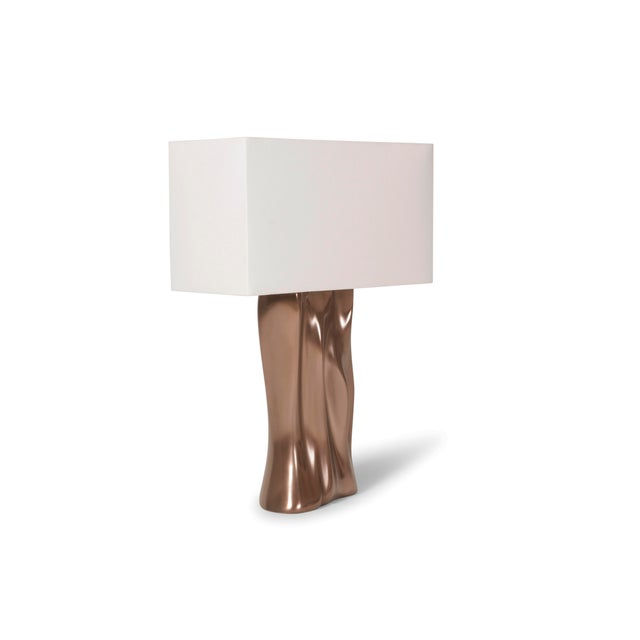 Amorph Doris Table Lamp in Bronze Finish and Ivory Silk Shade For Sale In Los Angeles - Image 6 of 8
