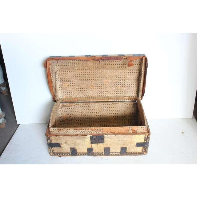 Rustic Mid 19th Century Antique Decorative Leather & Iron Trunk For Sale - Image 3 of 4