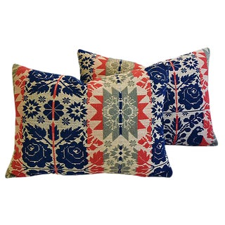 19th-C. New England Coverlet Feather/Down Pillows - a Pair
