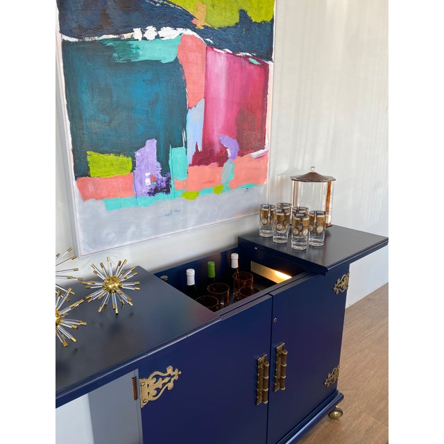 1970s Vintage Lacquered Bar Cart For Sale In Charlotte - Image 6 of 13