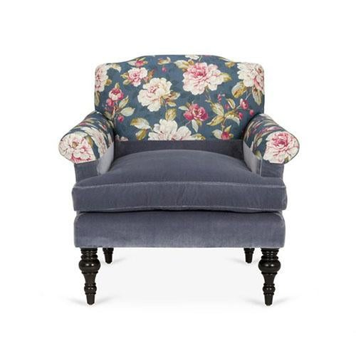 Kim Salmela Blue Floral Chair For Sale In Los Angeles - Image 6 of 6