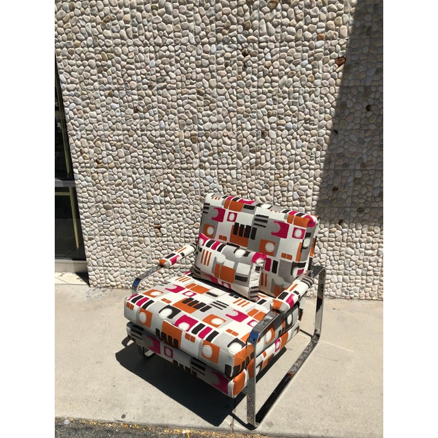 1970s 1970s Modern Chrome Club Chair For Sale - Image 5 of 9