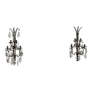 19th Century Baccarat French Louis XVI Style Crystal Sconces - a Pair For Sale