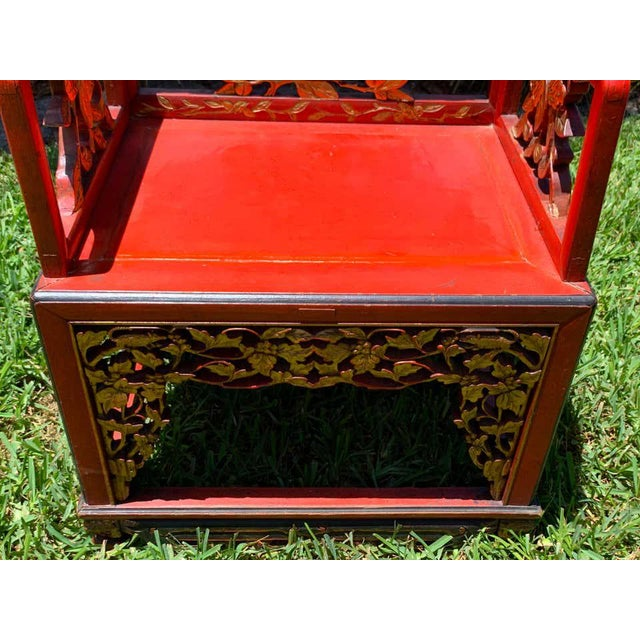 Chinese Red Lacquer and Gilt Throne Chairs - a Pair For Sale - Image 12 of 13