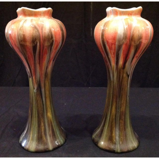 Mid 20th Century Art Nouveau Belgian Vases - a Pair For Sale - Image 5 of 6