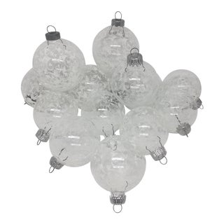 Vintage Filagree Glittered Glass Ornaments- Set of 13 For Sale