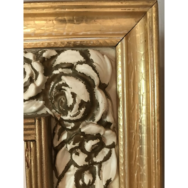 Glass Mid-Century Modern Gilded Shadow Box Mirror With Carved Roses For Sale - Image 7 of 9