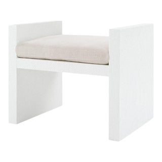 Bungalow 5 H-Bench, White Lacquered Heavy Raffia For Sale