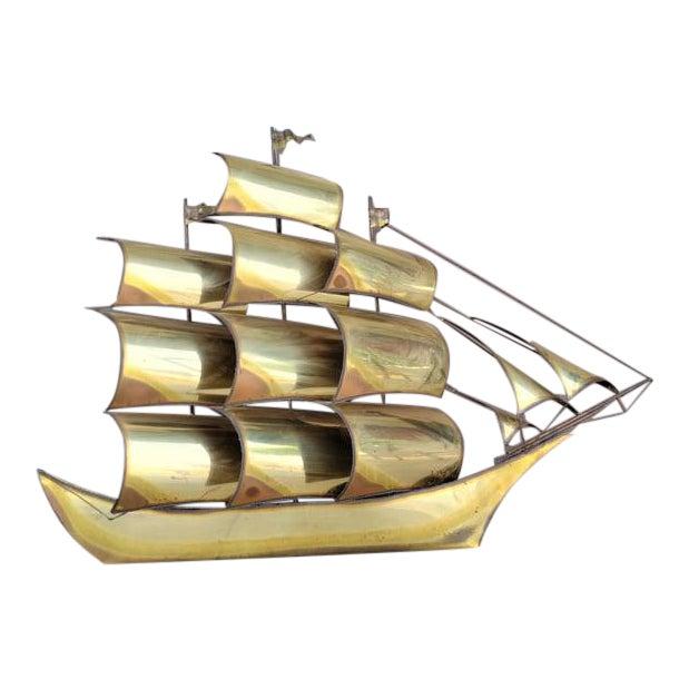 1970s Vintage Brass Ship Sculpture For Sale
