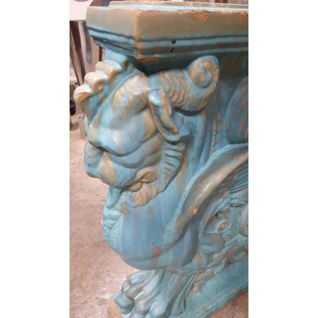 Exceptional and rare early 20th century Gladding McBean winged lion pottery pedestal. Beautiful drippy aqua blue glaze. A...