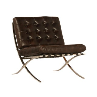 Dark Brown Tufted Leather Chair For Sale