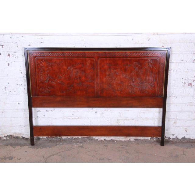Gold Drexel Heritage Mahogany and Brass Hollywood Regency Chinoiserie Queen Size Headboard For Sale - Image 8 of 8