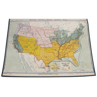"Vintage Schoolhouse ""Mexican War"" Map"