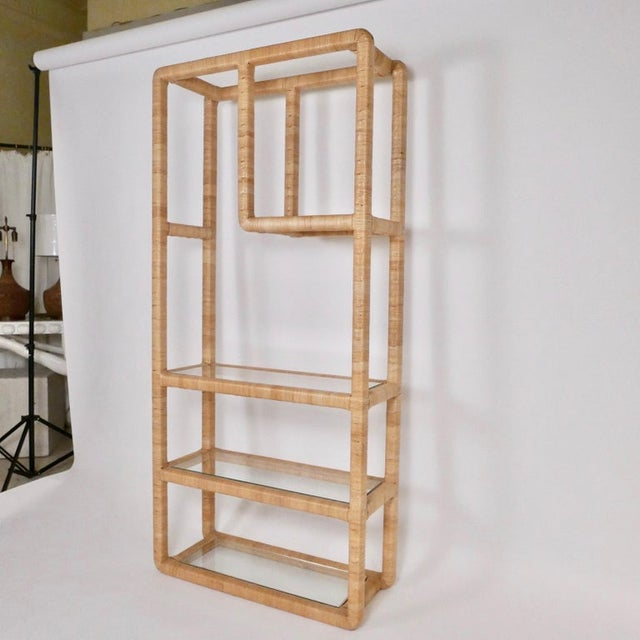 Mid 20th Century Midcentury Regency Rattan Cane and Glass Shelving Units - a Pair For Sale - Image 5 of 11