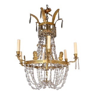 Swedish Empire Style Brass Chandelier With Crystals For Sale