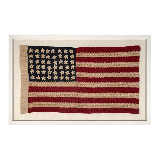 Small Vintage Hand Crocheted American Flag For Sale