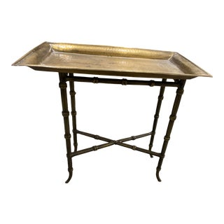Antique Hollywood Regency Meiling Brass Tray Table For Sale