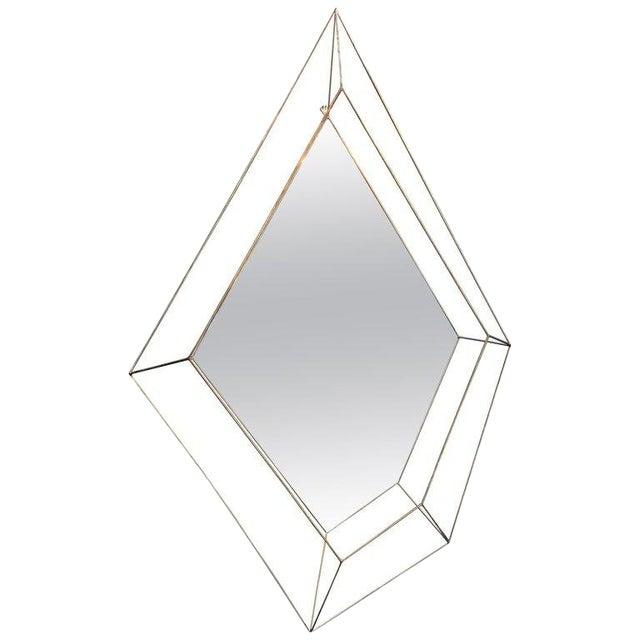Italian Large Rhomboidal Sculptural Wall Mirror in Brass For Sale