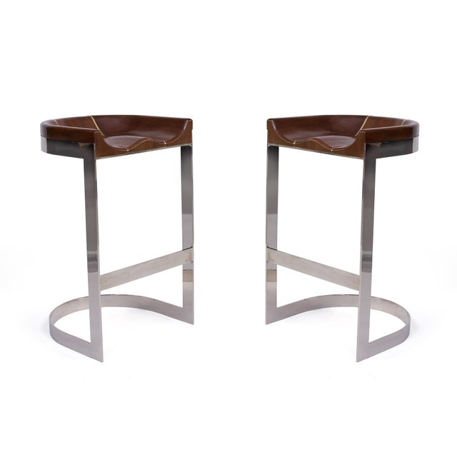 Brass 1970s Warren Bacon Barstools - a Pair For Sale - Image 7 of 7