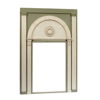 1980s French Carved Two Tone Light Green Wall Mirror For Sale
