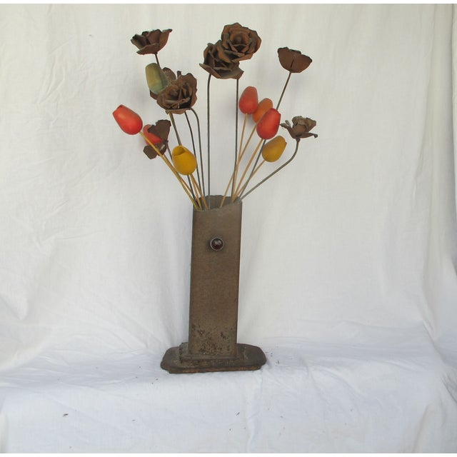 1960s Brutilist Iron Vase & Flowers - Image 5 of 5