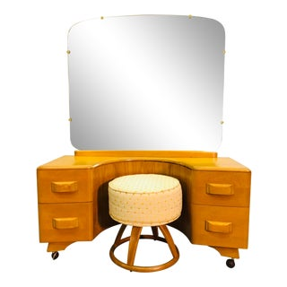 Heywood Wakefield Vanity & Mirror With Stool Set For Sale