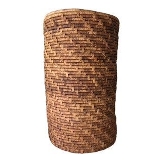 Tall Woven Lidded Basket For Sale