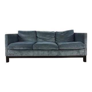 Contemporary Moroni Mid Century Modern Style Gray Upholstered Three Cushion Sofa